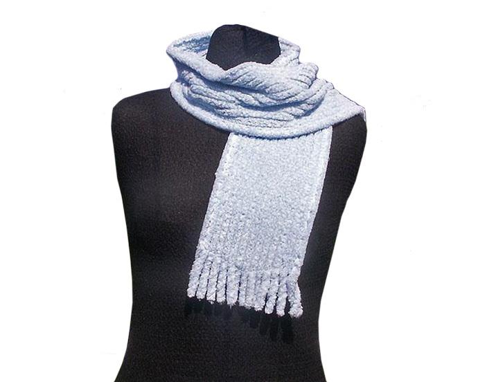Light Blue Cotton Chenille Scarf