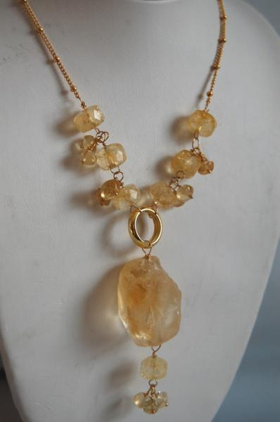 Beautiful citrine nugget and citrine rondelles necklace