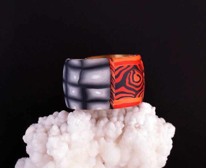 Zebra Style Orange with Black Polymer Clay Wrist Cuff