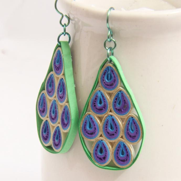 Geo Abstract Peacock Niobium Earrings - Eco Friendly Artisan Modern Paper