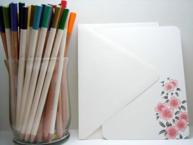 Pink Cherry Blossom Flat notecards set of 8