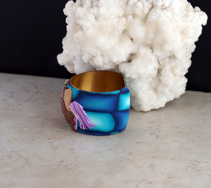 Polymer Clay Fun Face Wrist Cuff