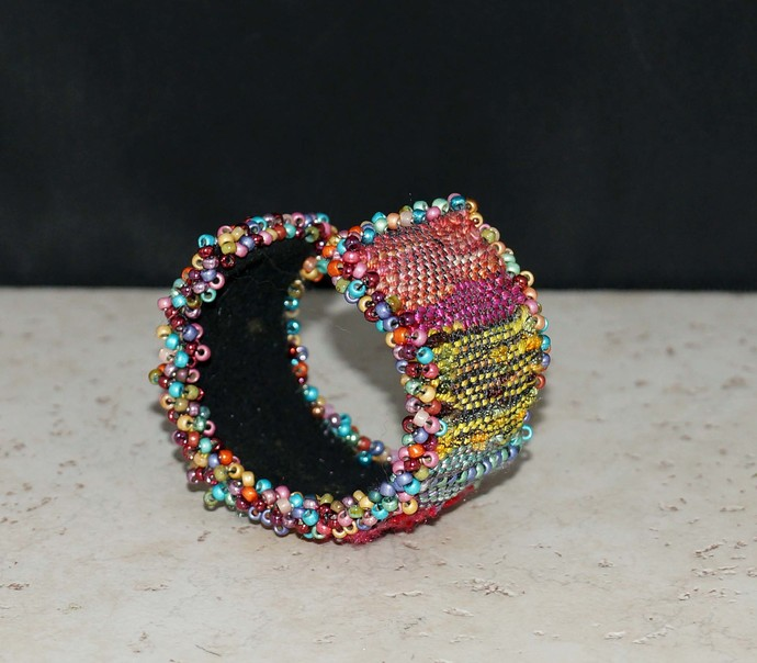 Loom Woven Multi Color Wrist Cuff