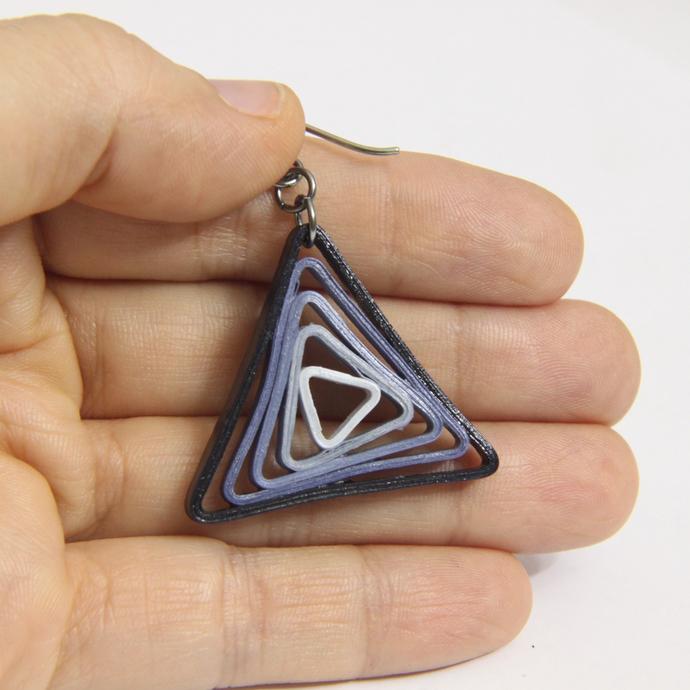 Triangle Swirl Geometric Blue Shades Niobium Earrings - Eco Friendly Artisan