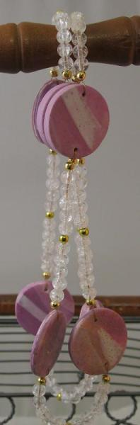 Pink Medallions and Crackled Glass Necklace