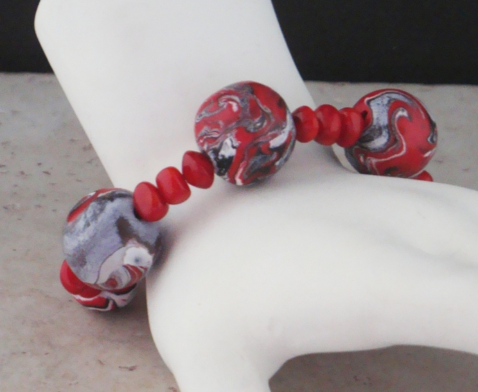 Red, Black and White Swirled Polymer Clay Bracelet
