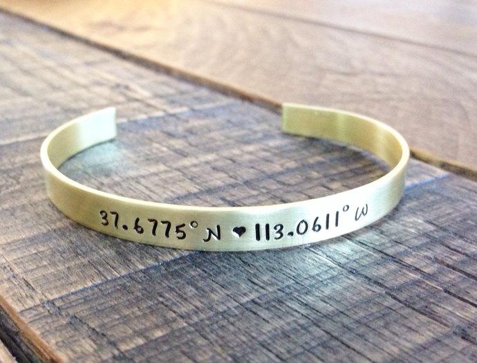 Personalized cuff bracelet hand stamped brass latitude and longitude coordinates