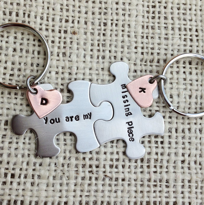 Puzzle piece Keychains set you are my missing piece his and her gift best friend