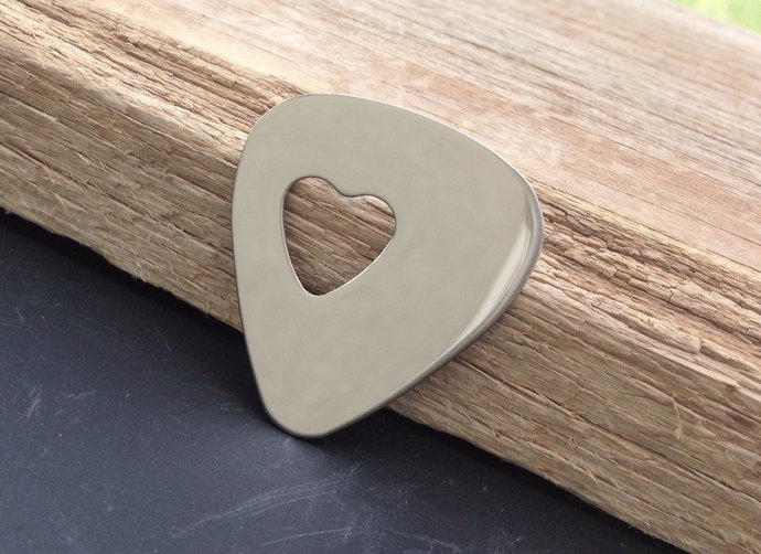 Guitar pick stainless steel mirror finish cut out heart gift for a guitar player