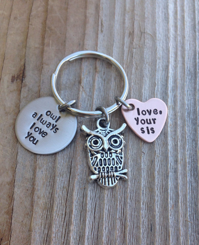 owl always love you personalized keychain handstamped 3/4 inch stainless steel