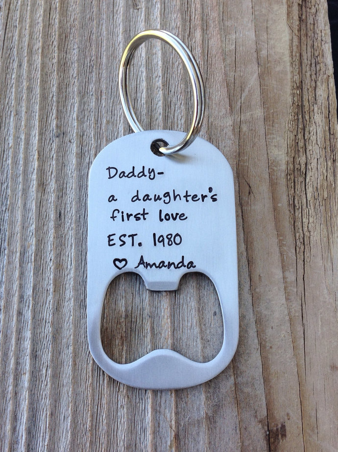 Daddy gift - Dad gift personalized   bottle opener keychain hand stamped