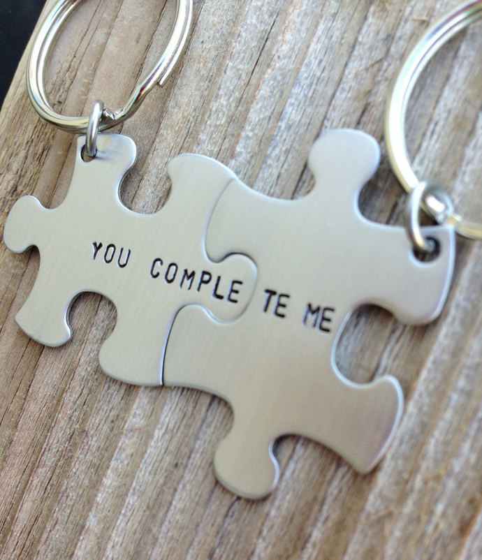 puzzle piece key chains his and hers you complete me  gift for him gift for her