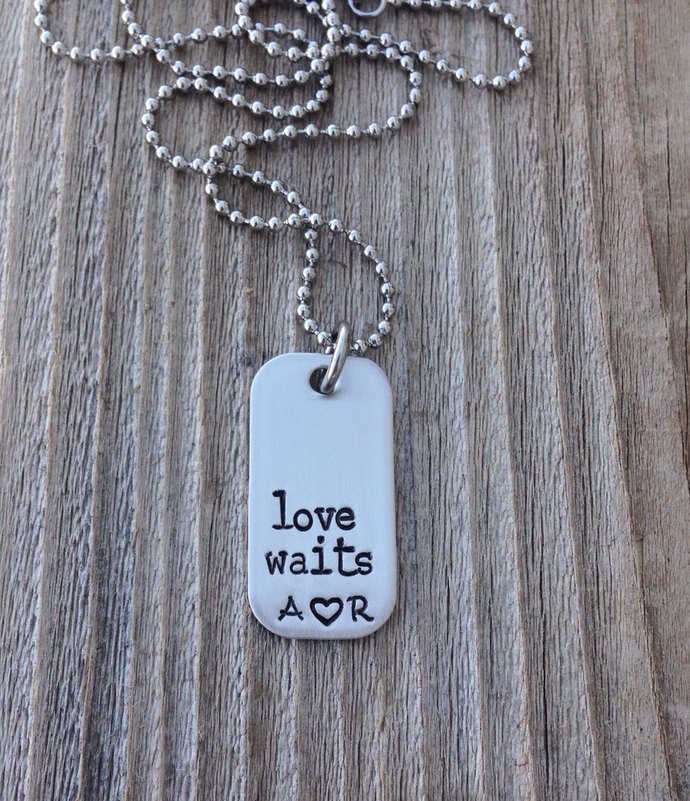 Handstamped mini dog tag necklace stainless steel tag love waits with initials