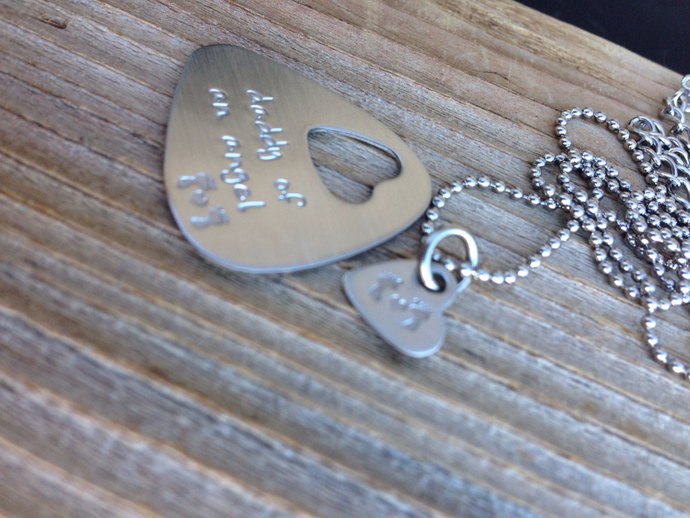 Guitar pick and necklace set hand stamped daddy and mommy of an angel