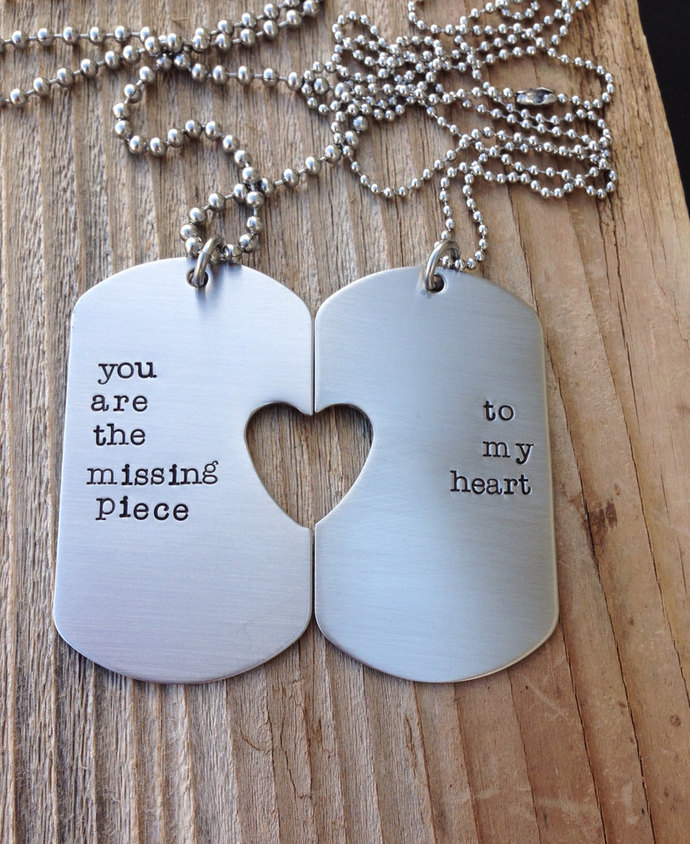 Custom military dog tag hand stamped his and her set you are the missing piece