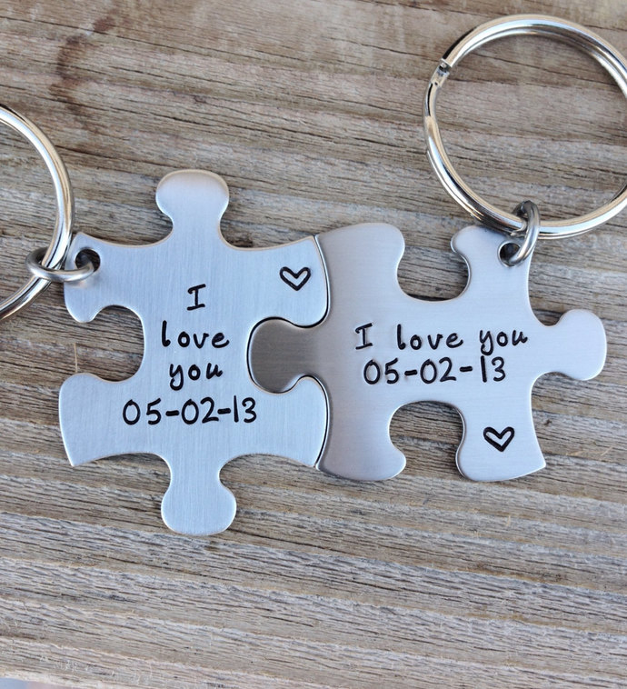 Puzzle pieces hand stamped keychain wedding gift anniversary gift