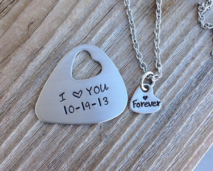 Guitar pick and necklace set hand stamped I love you forever stainless steel