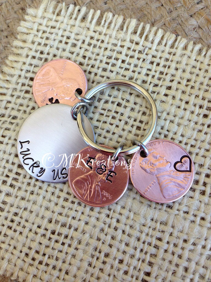 Lucky us penny keychain 3 pennies  hand stamped copper anniversary gift wedding