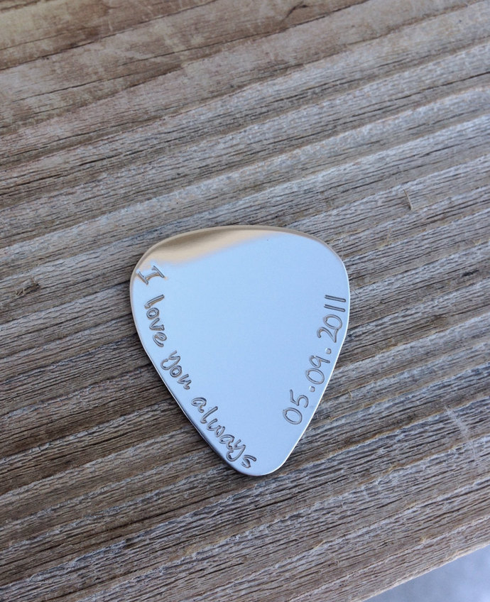 Guitar Pick hand stamped personalized gift stainless steel mirror finish