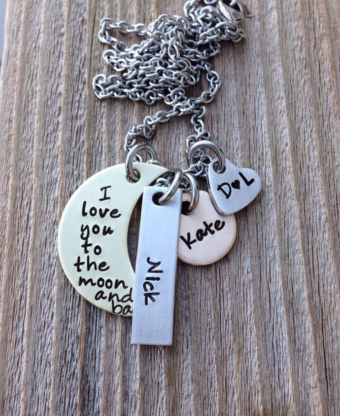 Mothers necklace, charm necklace , I love you to the moon hand stamped mixed