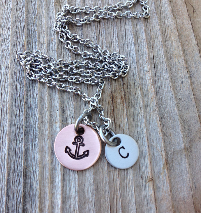 Hand stamped anchor necklace 3/8 stainless steel steel and 1/2 inch copper gift