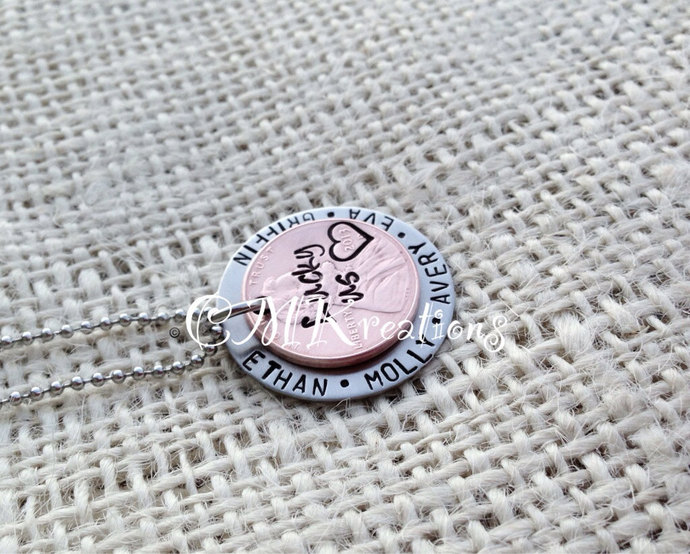 Hand stamped mom necklace Lucky Us penny personalized family necklace , kids