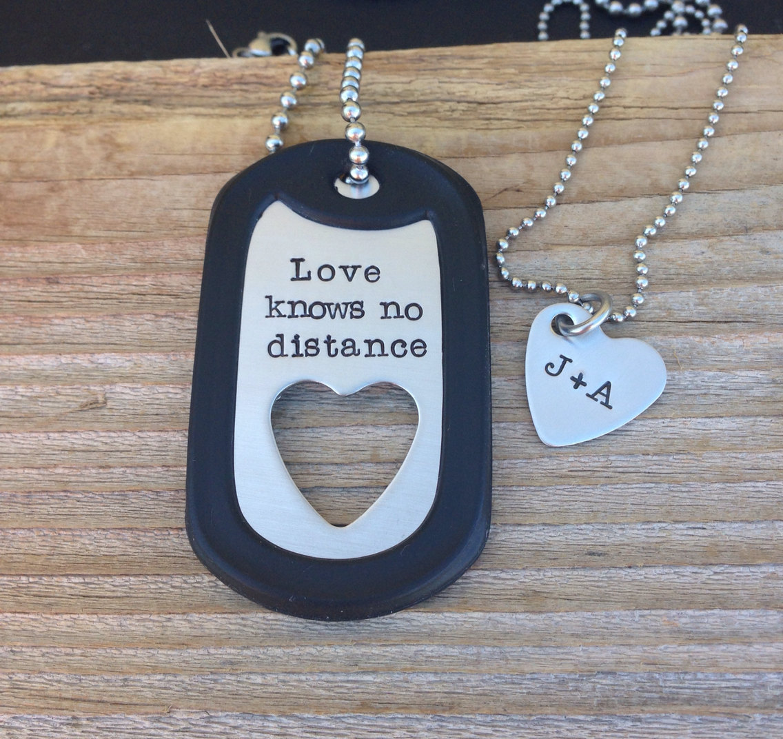 Hand Stamped Dog Tag Necklace Set Military By Cmkreations