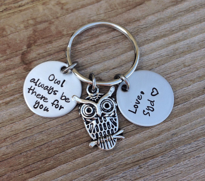owl always be there for you personalized keychain handstamped 3/4 inch stainless