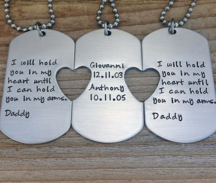 Beautiful Gifts From Son To Dad Part - 11: Hand Stamped Dog Tags Set Of Three Custom Daddy Daughter Gift Dad Son Gift