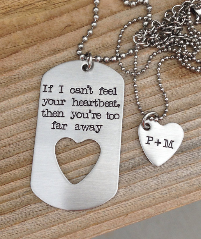 Hand stamped dog tag necklace set military gift, long distance relationship
