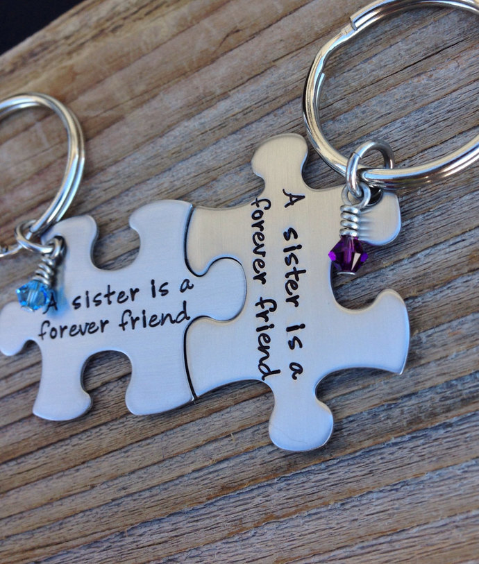 Puzzle piece keychains a sister is a forever friend set of two gift for her