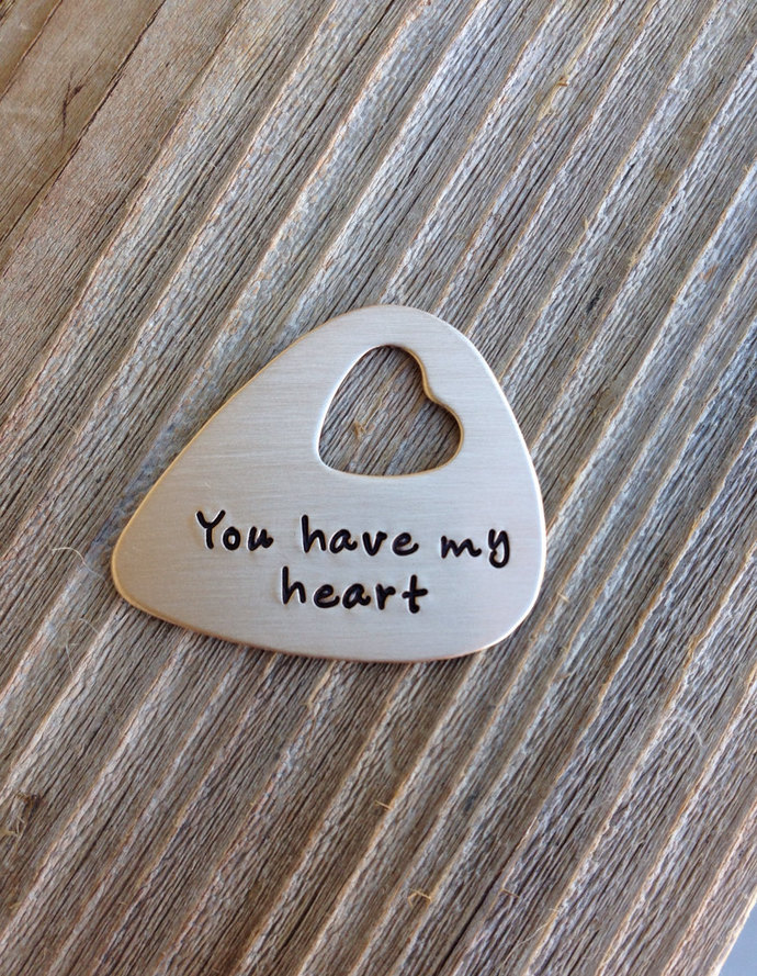 Hand stamped Guitar pick custom you have my heart open heart personalized pick