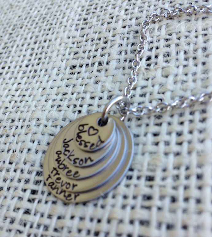 Hand stamped layered mothers necklace grandmother necklace 5 layers stainless
