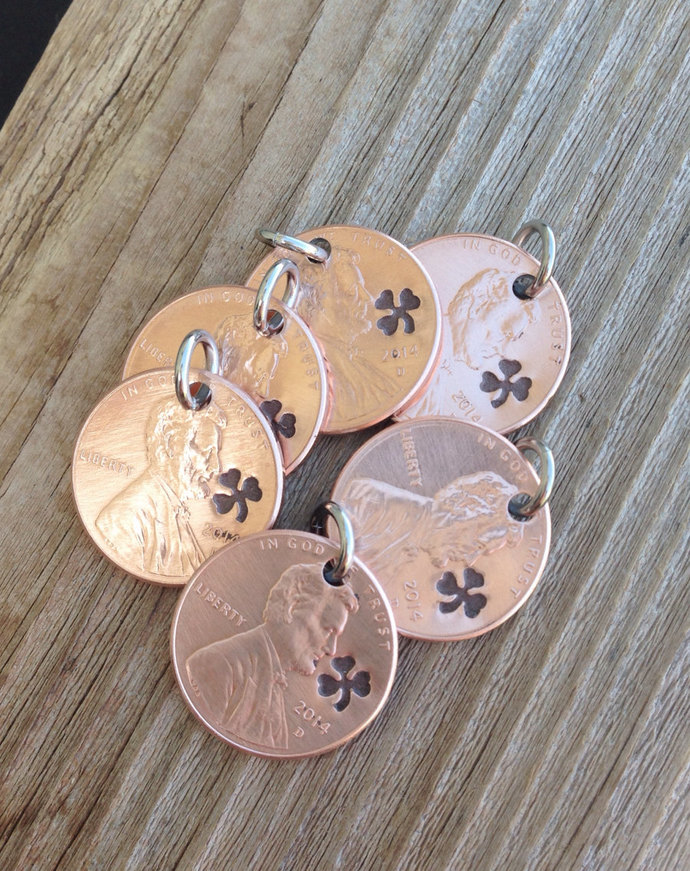 Lucky penny charms shamrock penny charms graduation gift wedding favor