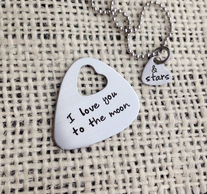 Guitar pick hand stamped necklace set I love you to the moon and stars