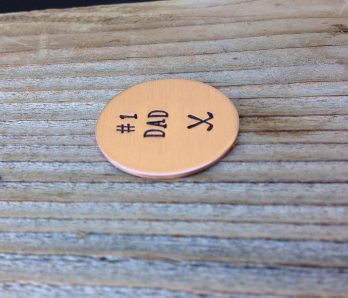 Fathers Day golf ball marker hand stamped 1 inch copper gift for him