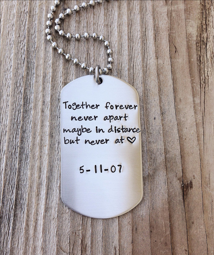 Custom dog tag hand stamped love quite gift for him military couple ,