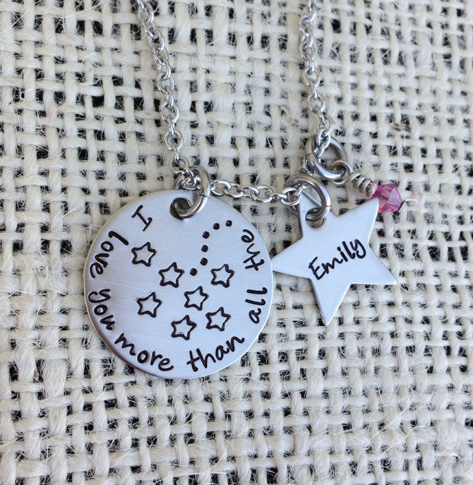 Hand stamped necklace I love you more than all the stars personalized necklace