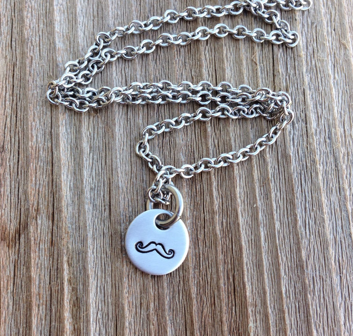 Handstamped mustache necklace stamped jewelry gift for her tiny necklace