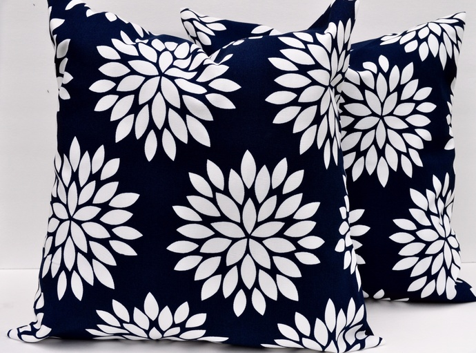 Decorative Pillow Cover, Navy & White