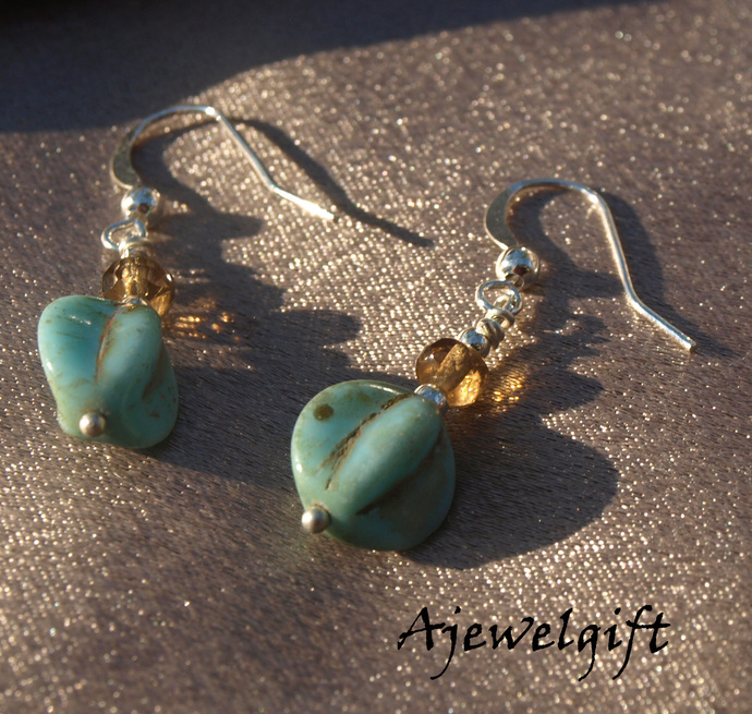 Turquoise Colored Glass Earrings 13039