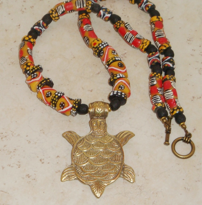 Krobo Bead Necklace with Brass Turtle Pendant
