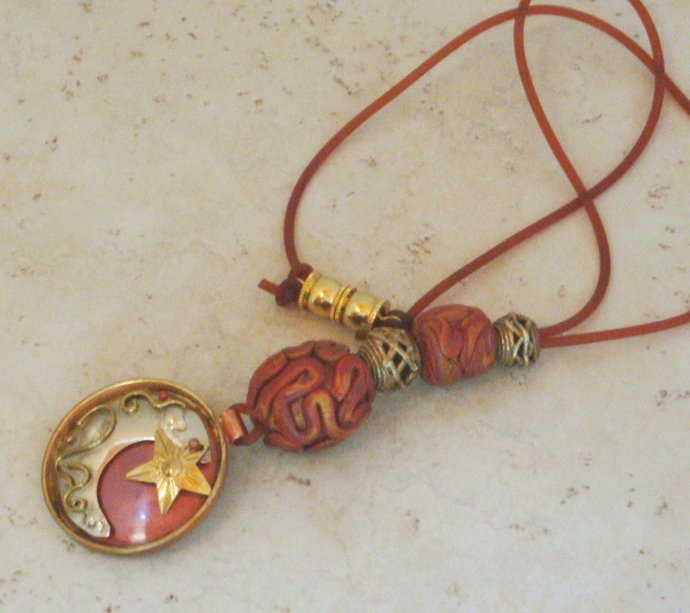 Three Metals Moon and Star Necklace