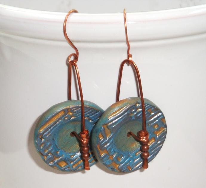 Sea Blue and Copper Dangle Wheel Earrings