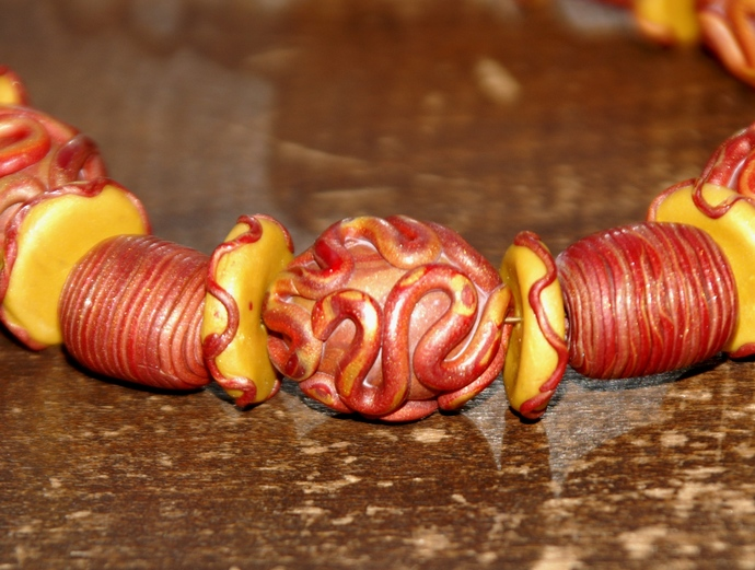 Red and Gold Polymer Necklace
