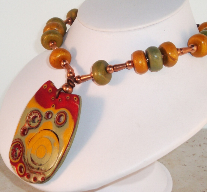 Colorful Imprinted Polymer Clay Pendant Necklace