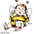 Seated Busy Bee kid digital stamp