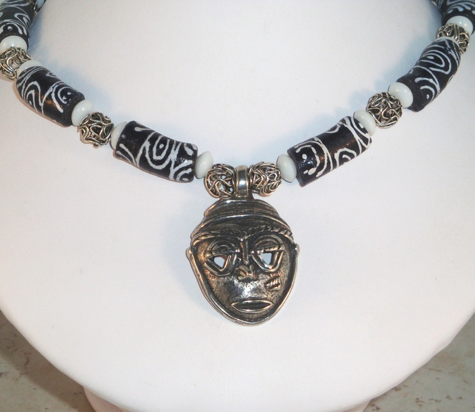 Black and White African Necklace