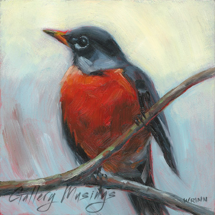 Bird Painting, American Robin 6x6 inches on Panel