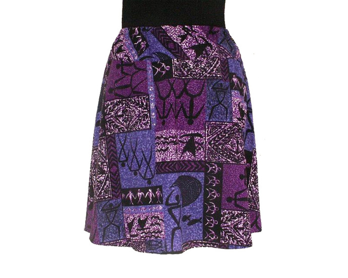 Elastic Waist Skirt in Purple Hawaiian Petroglyph Print  - Size XL